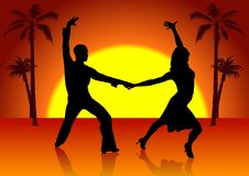 Two Spain Dancers stock illustration