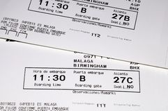 Aircraft boarding passes. Two Spanish aircraft boarding passes showing seat numbers and boarding time Stock Images
