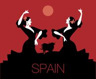 Two Spanish flamenco dancers dancing typical Spanish dance. Two Spanish flamenco dancers dancing `sevillanas`, typical Spanish dance. Bull, moon or sun in the royalty free illustration