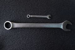 Two spanners wrench for professional car repair stock image