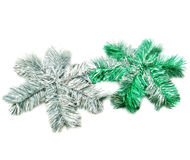 Two sparkle snowflakes. Isolated on a white background Royalty Free Stock Photo
