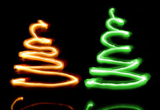 Two sparkler Christmas trees royalty free stock image