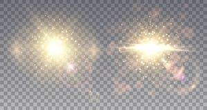 Two sparkling star explosions. Golden outbursts with bright rays and halo. Realistic light particles Royalty Free Stock Image