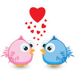 Two sparrow with love. Illustration on white background Royalty Free Stock Photos