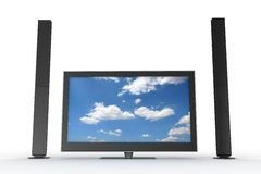 Two Speakers And A Plasma Tv Stock Photo