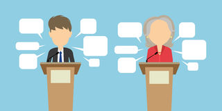 Two speakers debate. Political debates or speeches at the conference. Two speakers with speech bubbles. Election concept stock illustration