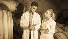 Two speaking wine house workers checking quality of product. In cellar Stock Photos
