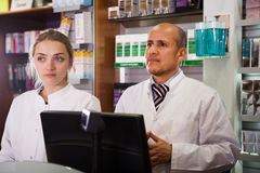 Two specialists  in farmacy Stock Photo