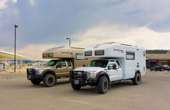 two specialized, off-road motor-homes at whitehorse Stock Photos