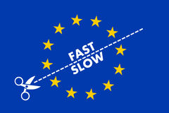 Two-speed Eeuropean union. Two-speed EU. Scissors split European Union into slow and fast members and countries. Multi-speed of integration, collaboration Stock Photos