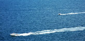 Two Speedboats on the sea Stock Photos