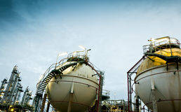 Two sphere gas storages. In petrochemical plant Royalty Free Stock Photography