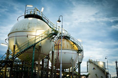 Two sphere gas storages. In petrochemical plant Royalty Free Stock Photos