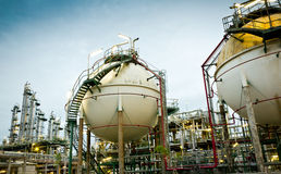 Two sphere gas storages. In petrochemical plant Stock Photography
