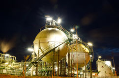 Two sphere gas storages  at night. Two sphere gas storages in petrochemical plant  at night Stock Image