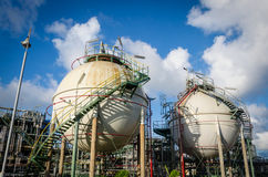 Two sphere gas storages. In petrochemical plant Royalty Free Stock Images