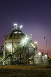 Two sphere gas storages  petrochemical plant at twilight Royalty Free Stock Images