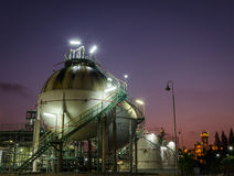 Two sphere gas storages  petrochemical plant at twilight. Two sphere gas storages in petrochemical plant at twilight Stock Photography