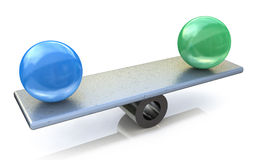 Two spheres in balance. 3d rendered illustration Stock Photography