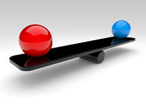 Two spheres compare (balance concept). Two spheres in balance. 3d rendered illustration Stock Photos