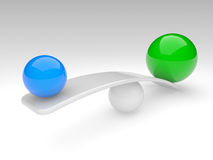 Two spheres compare (balance concept). Two spheres in balance. 3d rendered illustration Stock Photo