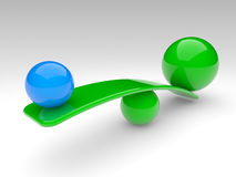 Two spheres compare (balance concept) Royalty Free Stock Photo