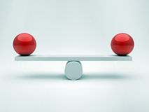 Two spheres in equilibrium. This is a 3d render illustration Stock Photo