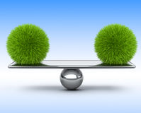 Two spheres of grass balancing on the scales. Eco concept. Stock Photography