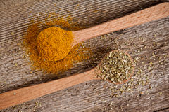 Two spices in wooden spoons Royalty Free Stock Photos