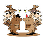 Two spies vector illustration Royalty Free Stock Photo
