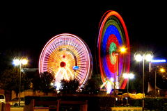 Two spinning Farris wheels in Gdynia Stock Photos