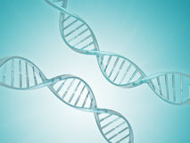 Two spiral DNA strand. Medical science blue background. Stock Photo