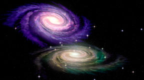 Two Spiral Galaxys. 3D concept Stock Images