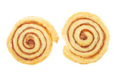 Two Spiral Shaped Danish Pastries Royalty Free Stock Photography