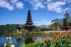 Two spires of the floating Pura Ulun Danu, a Hindu temple on Lake Bratan, Bedugul, Bali, Indonesia royalty free stock photography