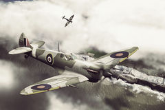 Two Spitfires over Dover. Render of a ww2 Supermarine Spitfire 3D model in flight Royalty Free Stock Images