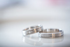 Two splendid wedding rings on a wedding day Royalty Free Stock Image