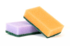 Two sponges. Lay on a white surface stock photography