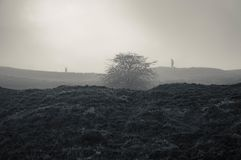 Two spooky figures walking on a hill, silhouetted on foggy winters day. With a grainy grunge, monochrome edit royalty free stock photo