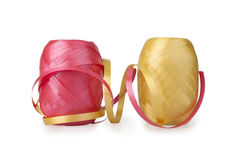 Two spool of ribbons. Isolated on white background stock images