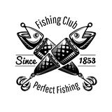 Two Spoon-bait fish crossed on white in engraving style. Logo for fishing or fishing shop on white.  stock illustration
