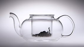 Two spoon of tea poured in a transparent teapot. Studio. Two spoon of tea poured in a transparent teapot, leaves of black tea filled in teapot, studio with white stock video