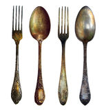 Two spoon and two fork Stock Photos