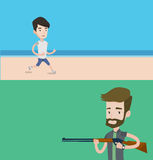 Two sport banners with space for text. Vector flat design. Horizontal layout. Man jogging on the beach. Man running on the beach. Young man running along the Stock Images