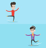 Two sport banners with space for text. Vector flat design. Horizontal layout. Professional male figure skater performing on ice skating rink. Young caucasian Stock Photography
