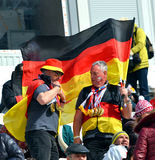 Two sport funs with national flags of Germany Royalty Free Stock Image