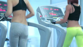 Two sport and slender girl running on a treadmill. Work out in the gym. Sport and slender girl running on a treadmill. Athlete dressed in sports uniforms and stock footage