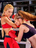 Two sport women are boxing on ring. Stock Image