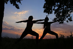 Two sporting girl posing and become into postures of yoga or pil. Graceful girls doing stretching and meditate, relax and bring in tone body, advertising for royalty free stock photo
