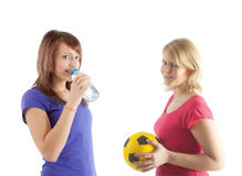 Two sportive girls royalty free stock photography